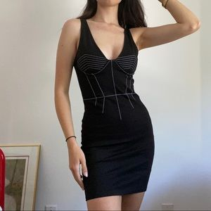 V Neck Bodycon Dress With Contrast Stitching